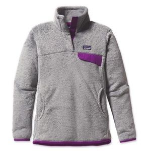 Patagonia Grey Fleece with Purple Trim
